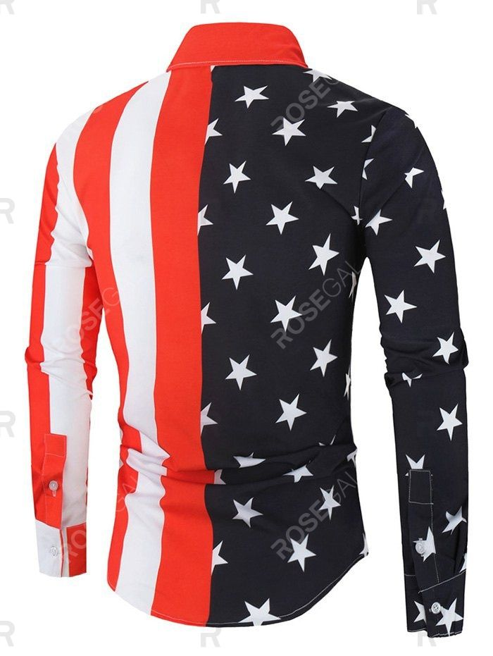 American Flag Print Button Up Long Sleeve Shirt In 2020 Long Sleeve Shirts Print Buttons American Flag Print