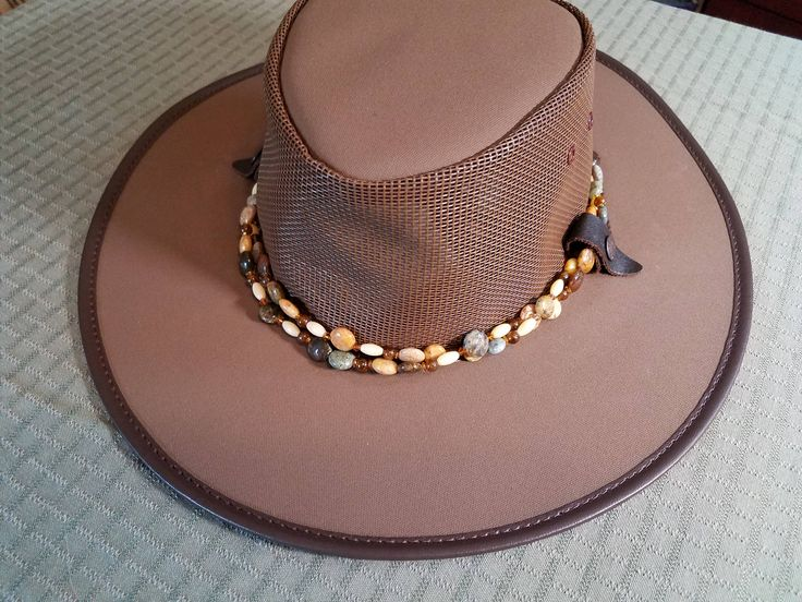 Aussie Hat, Australian Hat, Safari Hat, Beaded Hat Band, Canvas Hat, Decorated Hat, Hat Necklace, Rainbow Agate, Beaded Hat, Removable Band by UniqueCherie on Etsy