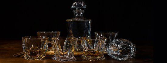 A Quadro whiskey karaf met 6 whiskey glazen