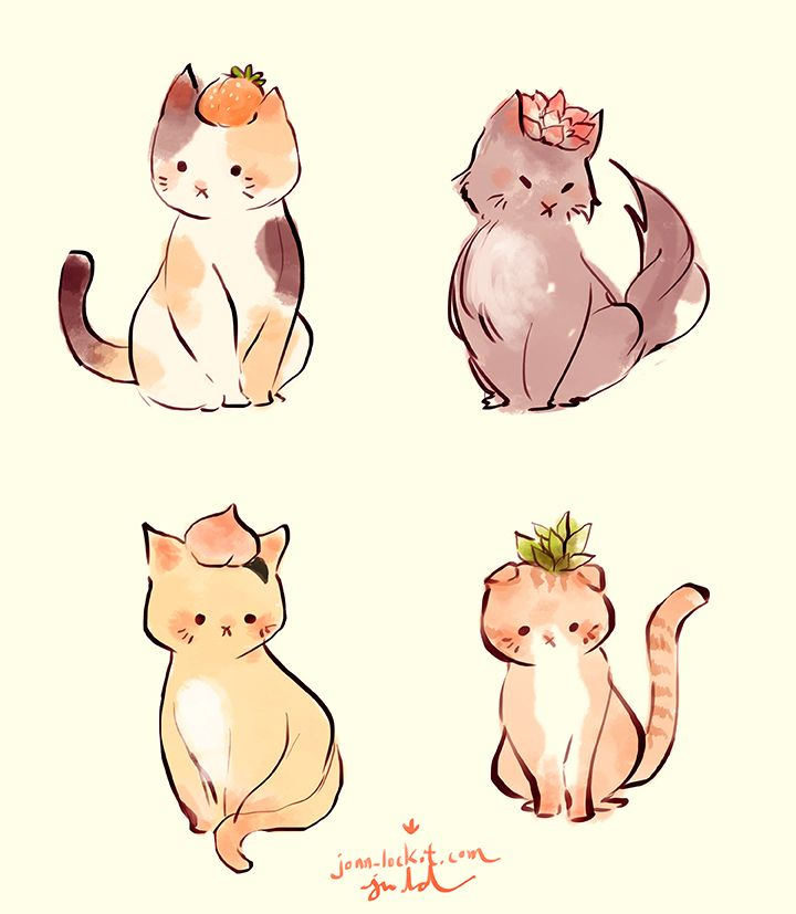 jonn-lock:  Fruit/Plant Cats. The top one on the right is based off from my pencil case.FACEBOOKDEVIANTART
