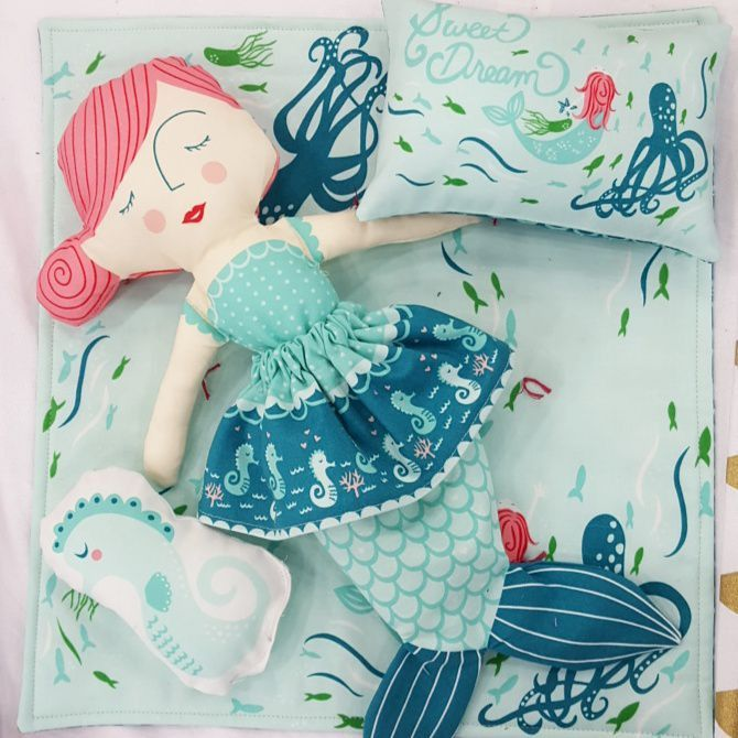 Coral Queen Of The Sea Doll Panel By Stacy Iest Hsu For