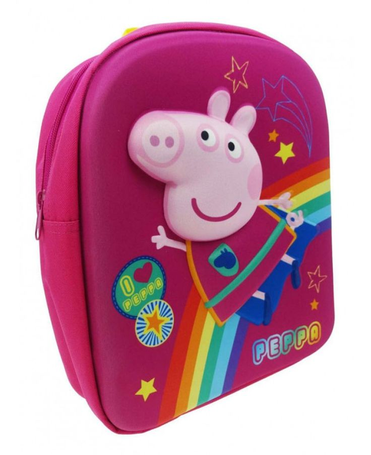 This adorable Peppa Pig backpack features a fantastic 3D moulded image of Peppa flying past a rainbow on a pretty pink background patterned with stars. The adjustable padded straps allow a secure and comfortable fit and it is made from hard wearing, wipe clean material. The bag comprises of one main zip closing compartment, perfect for any little Peppa fan to use for school, days out or sleepovers!