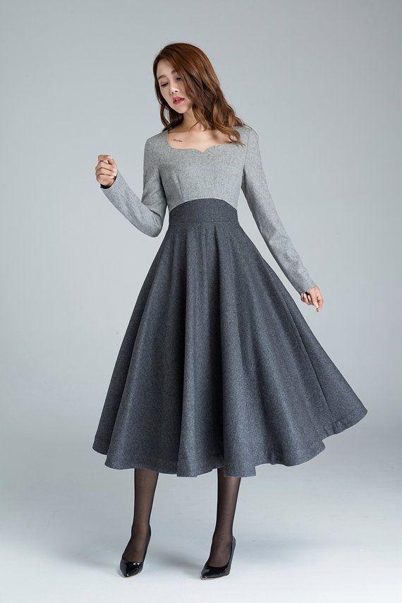 Winter wool dress, wool dress, gray wool dress, midi dress, winter dress, women …