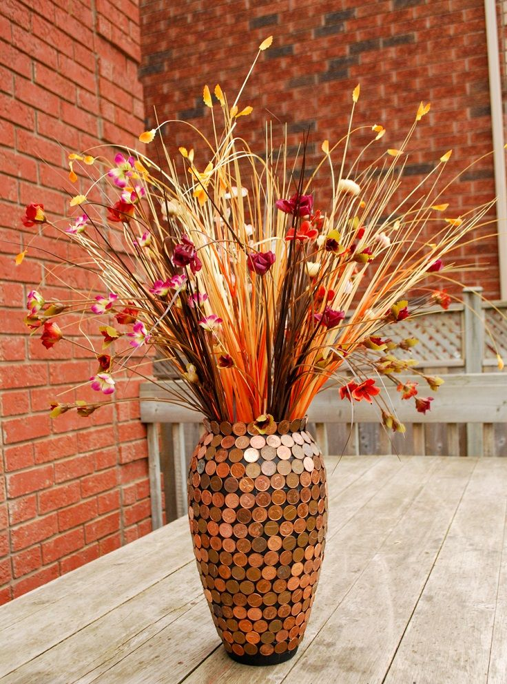 Top 10 DIY Vase Decorations (something to try with our 1 cent coins!!!)-- do this with smaller vases