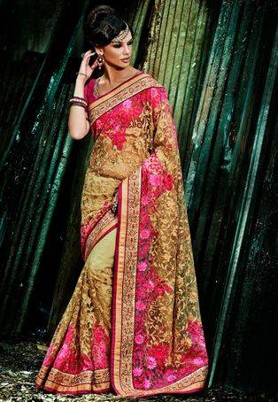 Beige and Fuchsia Net Saree with Blouse