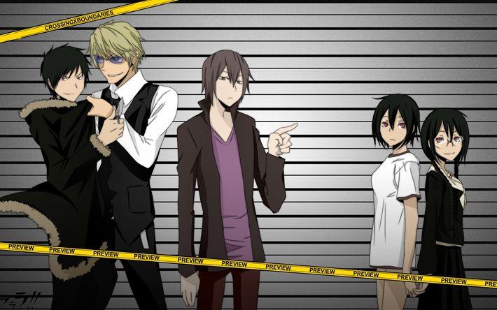 Download wallpapers Durarara, Japanese anime, characters, Anri Sonohara, Celty Sturluson, Izaya Orihara, Mikado Ryuugamine, Shizuo Heiwajima