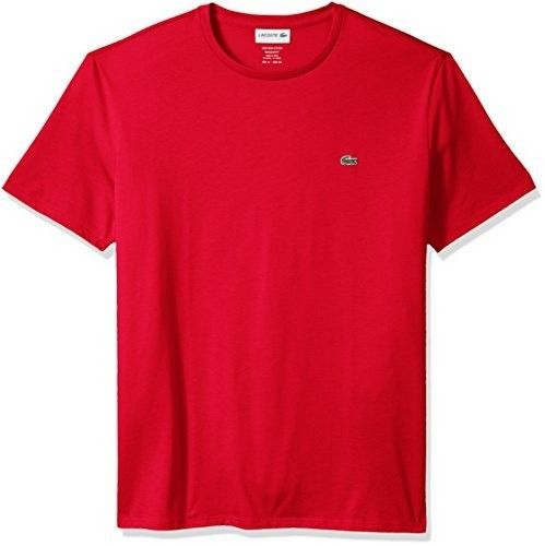 Lacoste Mens Short Sleeve Henley Tee, Red, 7