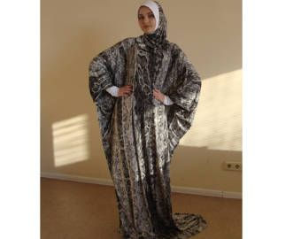 Gray Maxi dress, Snake print Dress, Prayer muslim outfit, Namaz Dress, Oversize Dress, Gray Burqa, Muslim Dress, Dubai Abaya, Kaftan