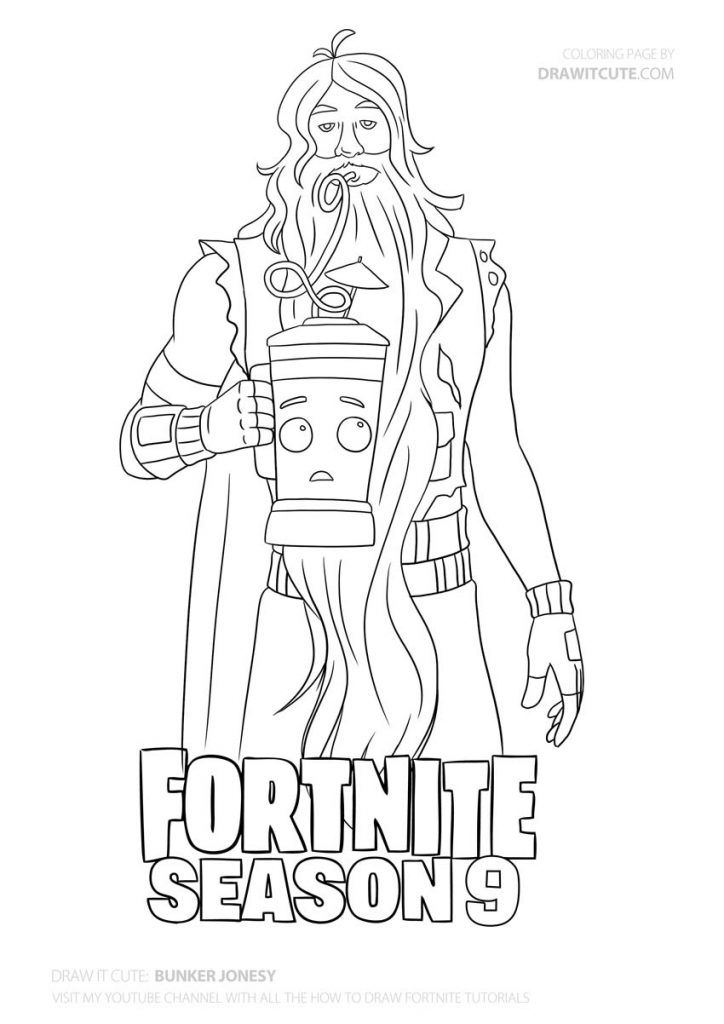 How To Draw Bunker Jonesy Fortnite Season 9 Step By Step