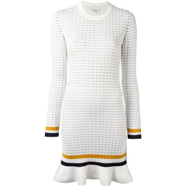 3.1 Phillip Lim long sleeve knit dress ($440) ❤ liked on Polyvore featuring dresses, white, white knit dress, long sleeve peplum dress, longsleeve dress, long sleeve short dress and short dresses