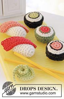 "Virkatut DROPS sushi ja maki wasabilla ""Paris""-langasta. ~ DROPS Design"