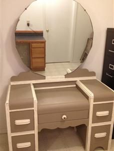 antique dressing table/vanity. painted in AS chalk paint coco, trim in chalk paint old white ...