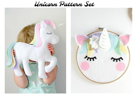 Unicorn Duo Set - Two unicorn decor patterns by Maisie Moo - Perfect for your unicorn themed nursery or bedroom. Yes, you can make these! Felt Unicorn Cushion/Toy Pattern - This pretty pastel unicorn toy or cushion is stitched entirely by hand and is the perfect sewing pattern for