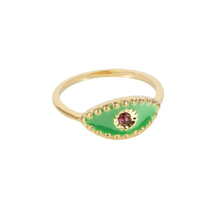 Green eye ring | $49. Fine ring crafted in 9ct gold plating, with delicate evil evil pendant motif in green enamel with purple coloured stone pupil. Shop now: http://www.savethelastpinker.com.au/shop/green-eye-ring/