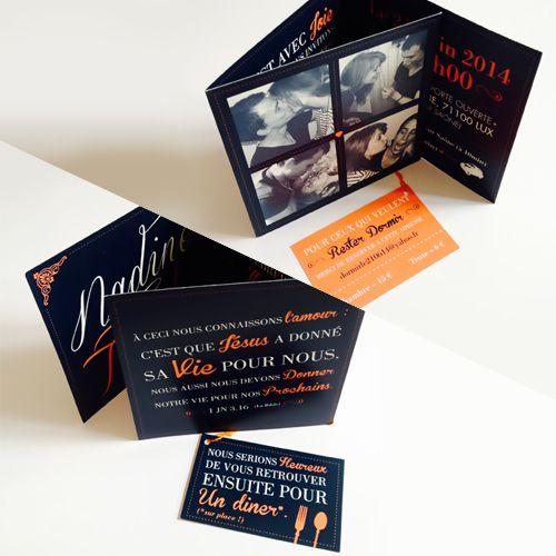 Faire-part de mariage - 3 volets - Orange et bleu marine - Perforation pour attacher petite carte d'invitation.  By JohnDesign.Net - Jonathan Romain - www.johndesign.net