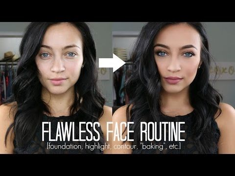 FLAWLESS FACE ROUTINE: Foundation, Highlight, Contour + Baking, etc - YouTube #toofaced
