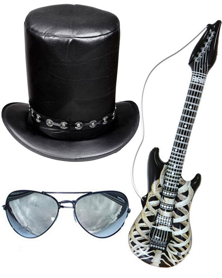Slash Fancy Dress Top Hat Sunglasses Guitar Stag Do Halloween Rocker in Clothes, Shoes & Accessories, Fancy Dress & Period Costume, Accessories | eBay!