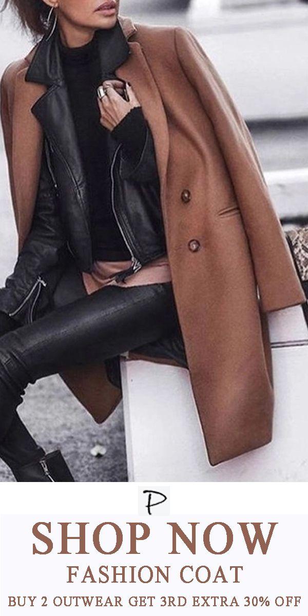Fashion Pure Color Long Sleeve Jacket Coat