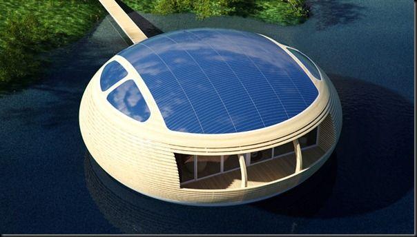 Μελλοντική τεχνολογία Έννοια των φιλικών προς το περιβάλλον πλωτά σπίτι με ηλιακούς συλλέκτες