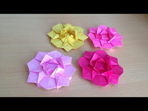折り紙の花 ダリア 折り方(niceno1)Origami flower dahlia - YouTube