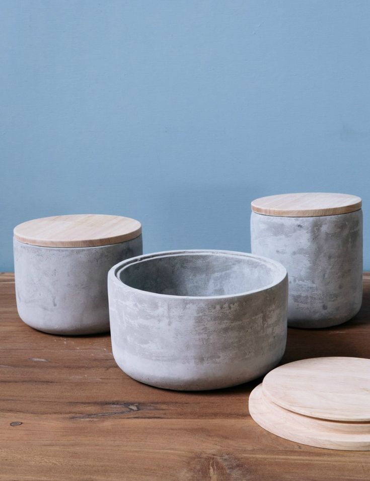 Concrete & Wood Jars / Rose & Grey