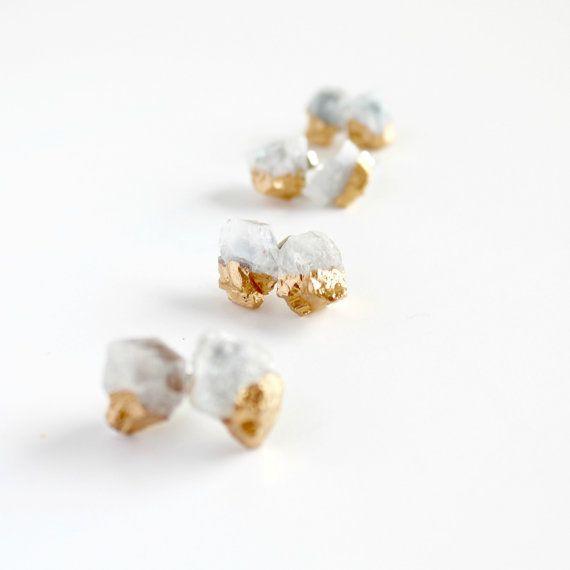 Aquamarine earrings gold dipped earrings  aquamarine by Borcik