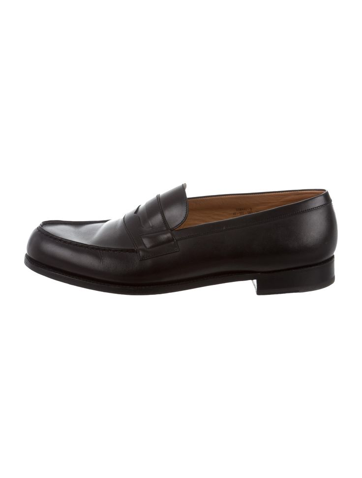 Men's black leather J.M. Weston round-toe penny loafers ...
