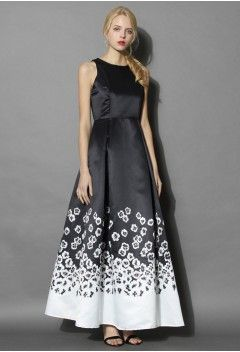 Midnight Flower Land Maxi Gown Dress - Retro, Indie and Unique Fashion