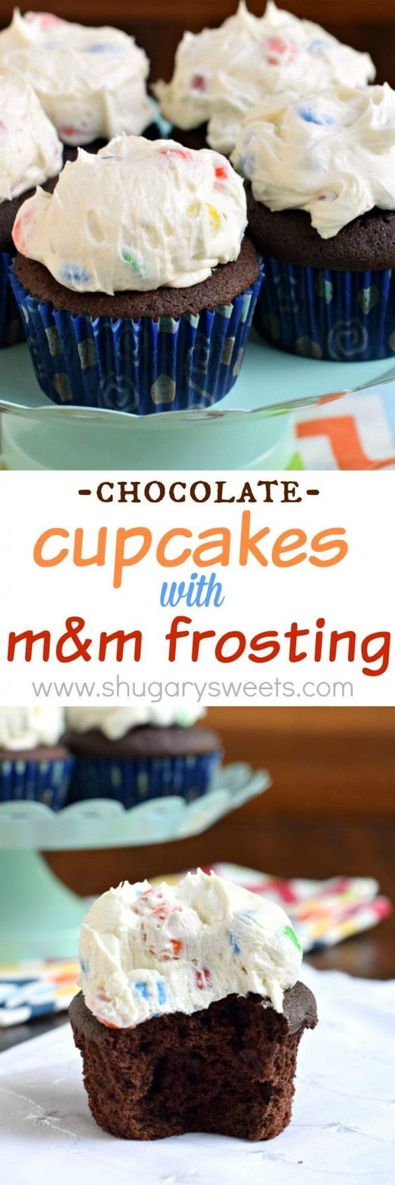 The most delicious, from scratch, Chocolate Cupcakes pile high with creamy M&M Frosting!!