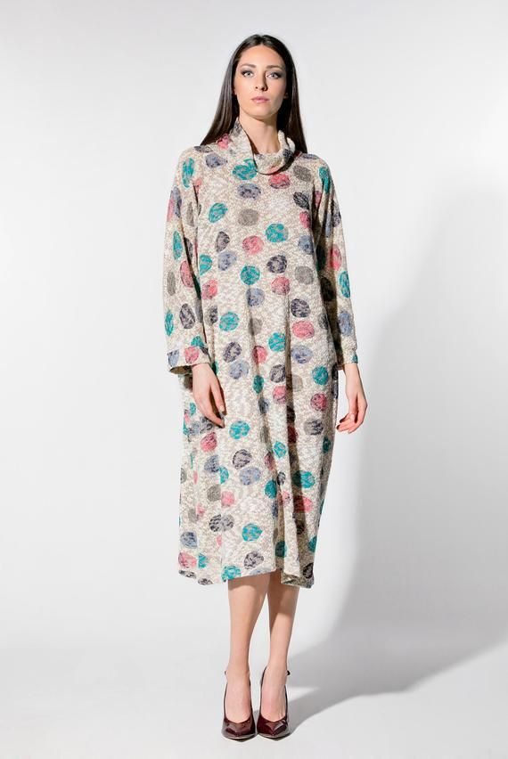 Polka Dot Oversize Sweater Dress 109365 Maxi Dresses And Kaftans