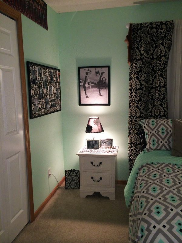 Repurposed lamp and bulletin board mint grey black and for Black and white rooms for teens