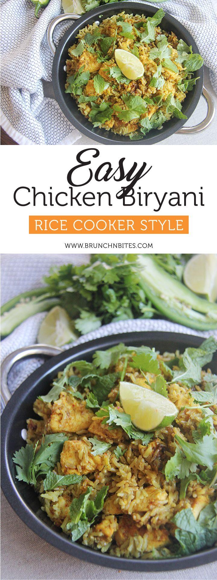 Easy & Flavorful Chicken Biryani - Rice Cooker Style | Brunch-n-Bites