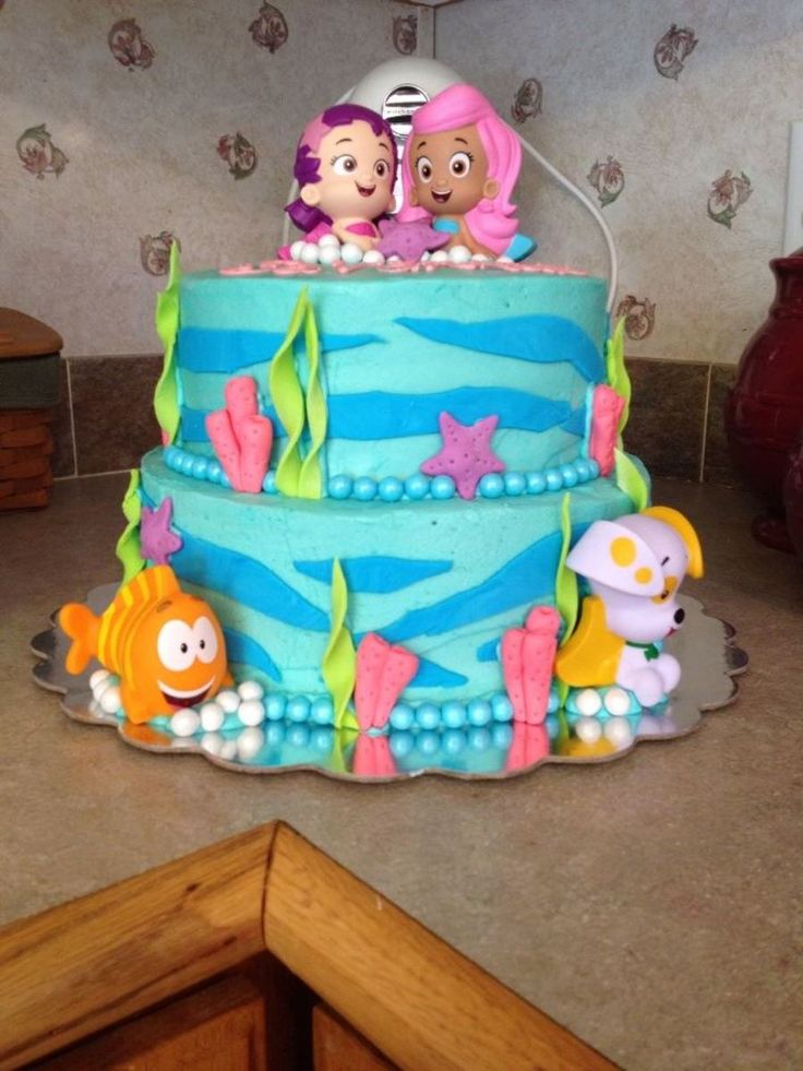 http://www.cakecentral.com/gallery/i/3260423/bubble-guppies-birthday-cake  Buttercream with fondant and Sixlet candy accents; Bubble Guppies decorations are bath squirt toys