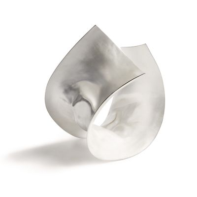 ute decker - sculptural arm jewellery in ethical silver ( silky silver folds give this arm sculpture a tactile sensuality.)