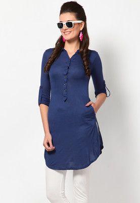 Biba Printed Blue Cotton Kurta - Buy Women Kurtas & Kurtis Online | BI021WA93HVIINDFAS