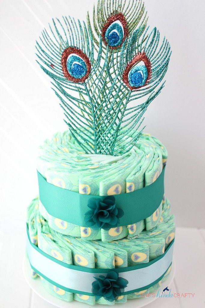 sheu0027s kinda crafty peacock diaper cake