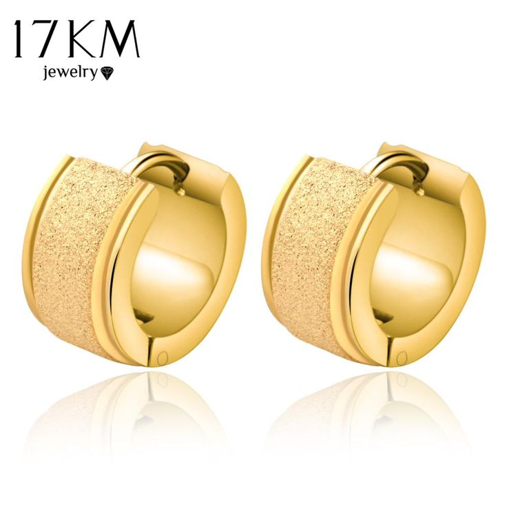 17KM Steampunk Stainless Steel Earrings Hoop Piercing Round Earring Ear Stud Men Jewelry Titanyum Earrings boucle d'oreille