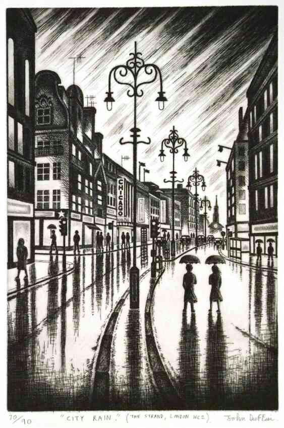 John Duffin. City rain(the Strand) (etching)