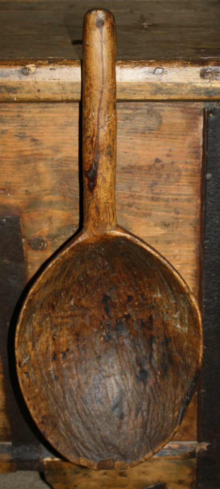 Large Antique Primitive Carved Wooden Water Dipper, 19th Century Country Ladle.Here's a beautiful, extra large, antique water dipper up for bids without reserve! It dates back to the 19th Century and was carved from a single piece of wood. The patina is old and undisturbed, we have not refinished this early piece. It still has plenty of visible carving detail along with rich, warm coloring and nice graining.sold 60.00