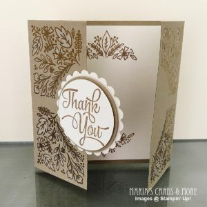 Stamped with the Stampin' Up! Paper Pumpkin August 2016 kit stamp set, heat embossed in gold.