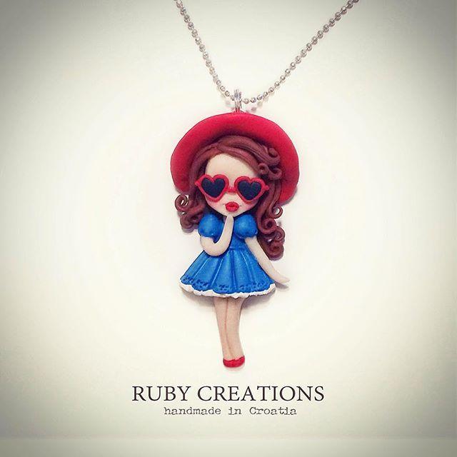 Retro summer collection doll necklace @shopabrakadabra  #retro #vintage #girl #doll #necklace #summer #jewelry #jewellery #pendant #chibi #kawaii #fimo #polymerclay #clay #handmade #unique #shop #sunglasses #heart #love #red #srce #unikat #croatia #ljeto #dizajn #instagood #instalike #rubycreations
