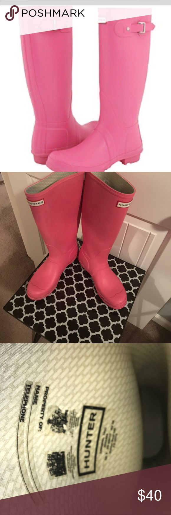 Tall hunter rain boots Pre owned, worn rain boots, but still in good condition. There is a small yellow highlighter mark on the back (in picture) Hunter Boots Shoes Winter & Rain Boots