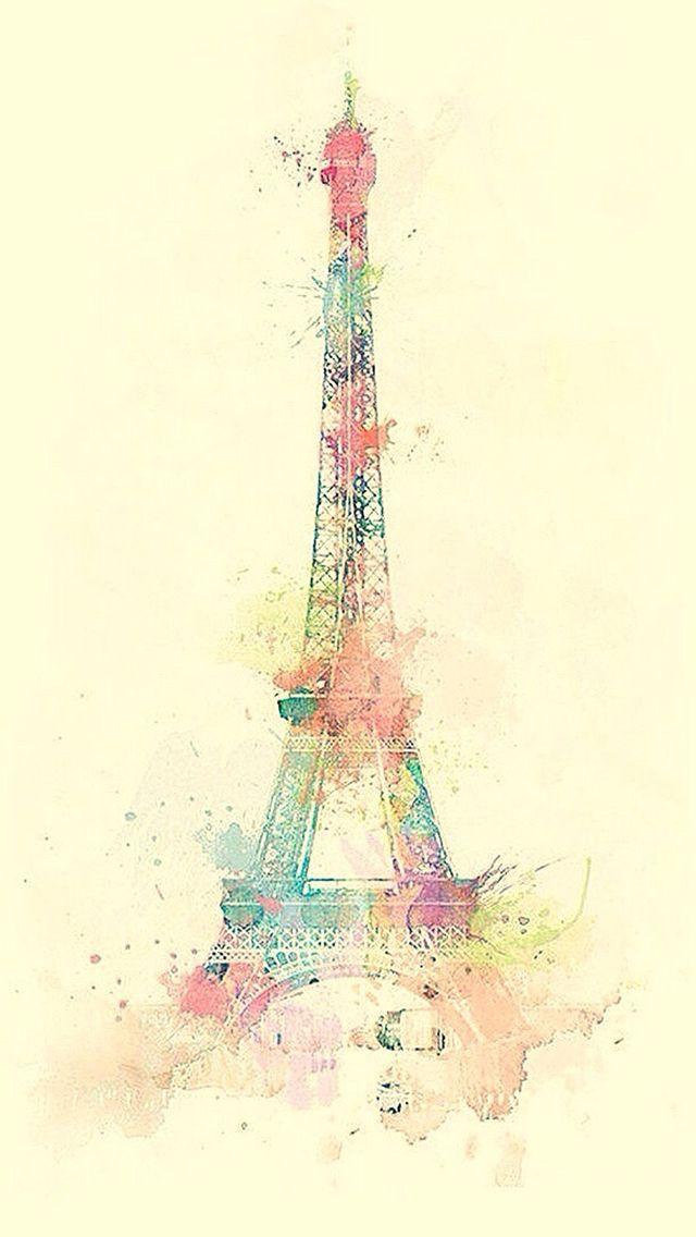 Eiffel Tower Watercolor Paint  #iPhone #5s #wallpaper