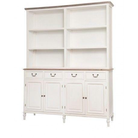Piękny duży kredens w stylu prowansalskim z sześcioma otwartymi półkami czterema szufladami oraz miejscem do przechowywania za drzwiczkami.