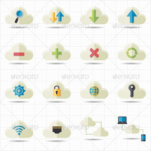 Cloud Computing Network Icons Vector — Vector EPS #server #technology • Available here → https://graphicriver.net/item/cloud-computing-network-icons-vector/7612706?ref=pxcr