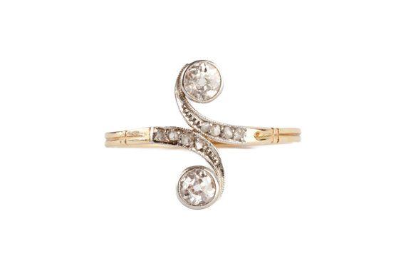Un anillo de diamantes de estilo eduardiano 18 k por mitaineshop