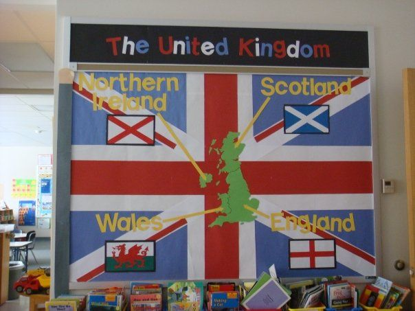 Simple United Kingdom display showing the different countries and their flags.
