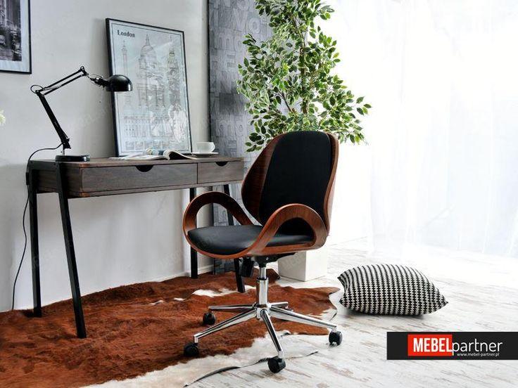 Elegancki fotel biurowy drewniany GINA orzechowo czarny.