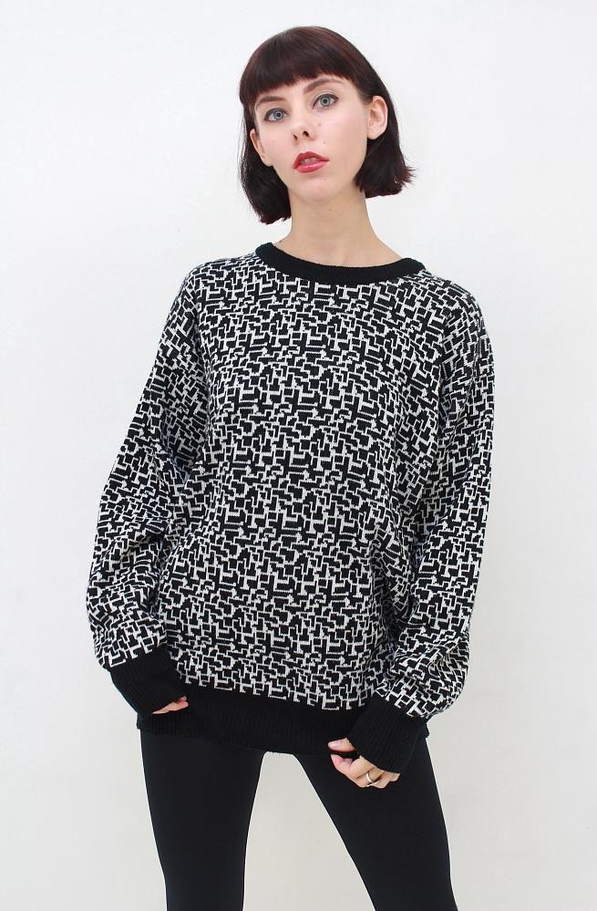 VINTAGE Retro 80's GEOMETRIC GRID Black White Jumper Sweater Pullover AUS 14 L