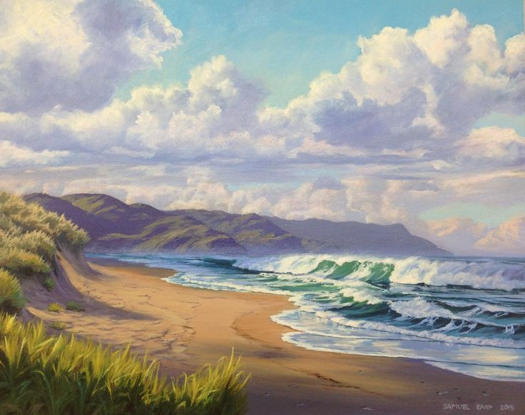 This painting is based on Waihi Beach, New Zealand. Oil on canvas, 500mm x 400mm